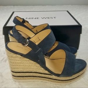 Nine West Dark Blue Suede Wedges 8.5•NIB